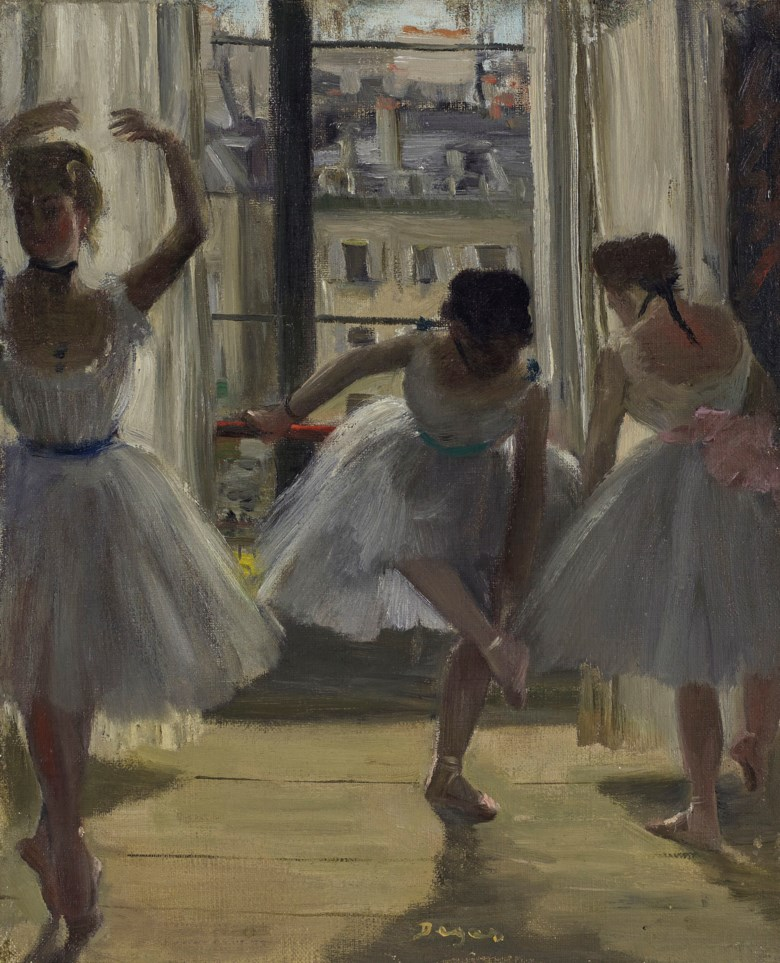 Edgar Degas (1834-1917), Danseuses dans une salle dexercice (Trois Danseuses), 1873. 10⅞ x 9  in (27.5 x 22.7  cm). Estimate £800,000-1,200,000. Offered in Impressionist and Modern Art Evening Sale  on 27 February 2019 at Christie's in London