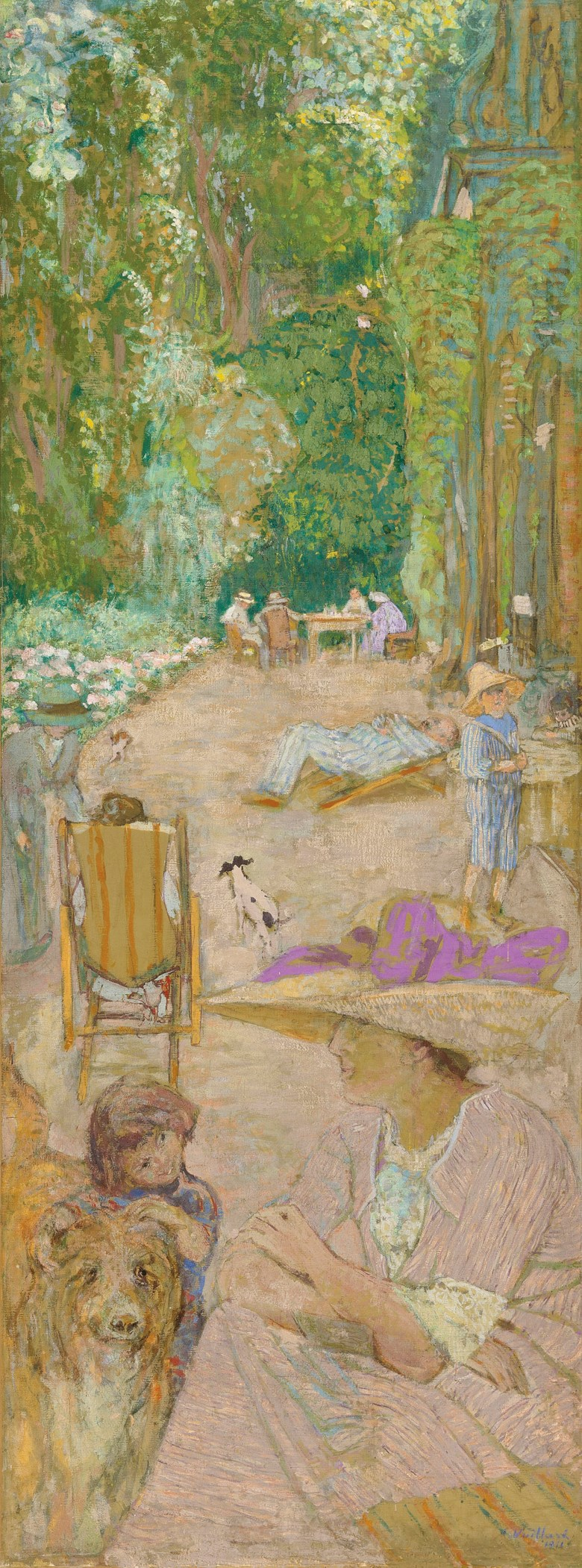 Edouard Vuillard (1868-1940), Aux Pavillons à Cricqueboeuf. Devant la maison, 1911; reworked by the artist in 1934. 83½ x 31½  in (212 x 80  cm). Estimate £600,000-800,000. Offered in Impressionist and Modern Art Evening Sale  on 27 February 2019 at Christie's in London
