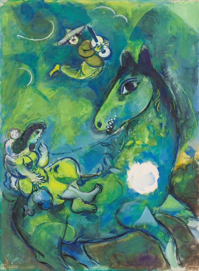 Marc Chagall (1887-1985), Le cheval à la lune, executed in 1943. 27⅛ x 20⅛  in (68.9 x 51  cm). Estimate £350,000-450,000. Offered in Impressionist and Modern Art Evening Sale  on 27 February 2019 at Christie's in London