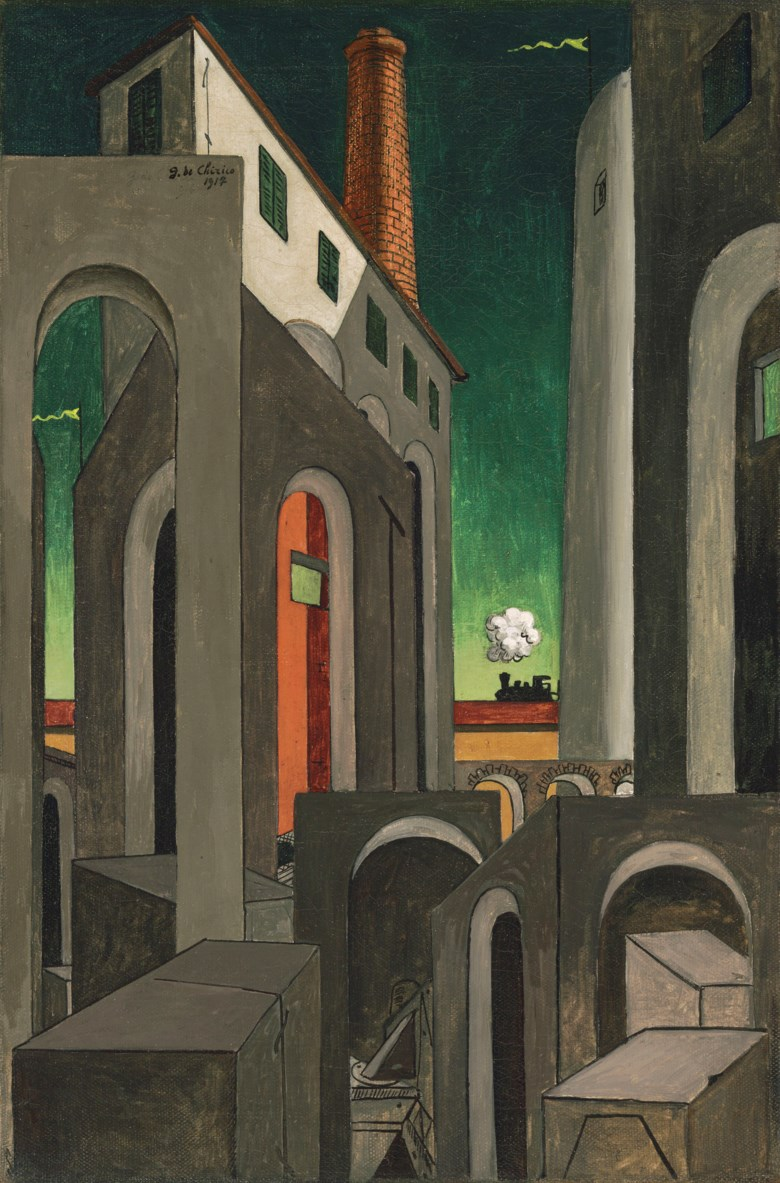 Giorgio de Chirico (1888-1978), Apparizione della ciminiera, circa 1939-1944. 32 x 21⅜  in (81.3 x 54.3  cm). Estimate £250,000-350,000. Offered in The Art of The Surreal Evening Sale on 27 February 2019 at Christie's in London