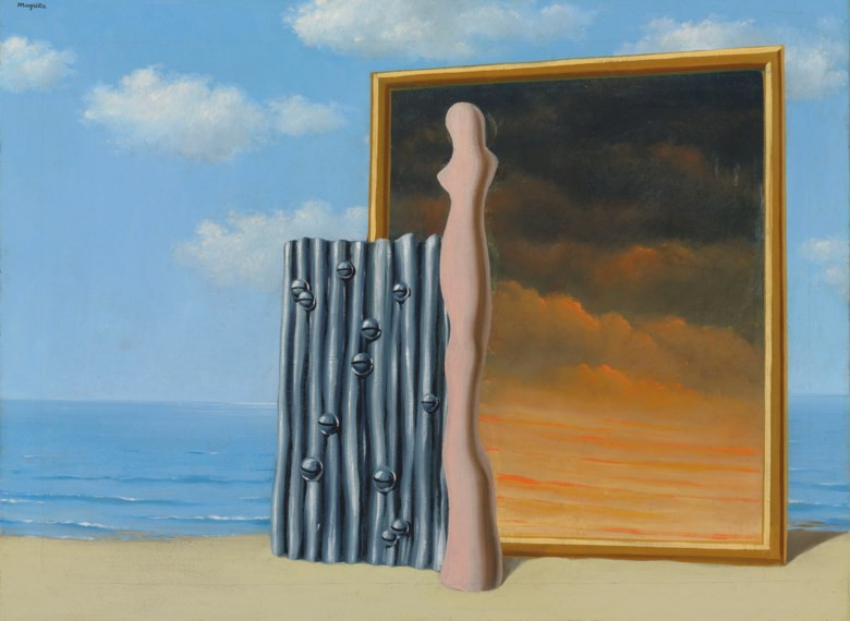 René Magritte (1898-1967), Composition on a Sea Shore, 1935-1936. 21½ x 28⅞  in (54.5 x 73.5  cm). Estimate £2,000,000-3,000,000. Offered in The Art of the Surreal Evening Sale on 27 February 2019 at Christie's in London