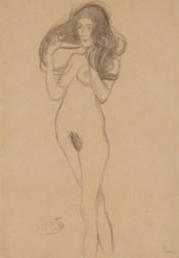 Stehender Mädchenakt nach links, die Haare mit den Händen haltend (Standing Female Nude Turning Left, Holding her Hair)