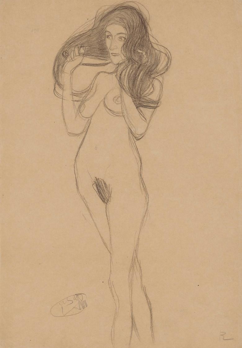 Gustav Klimt (1862-1918), Stehender Mädchenakt nach links, die Haare mit den Händen haltend (Standing Female Nude Turning Left, Holding her Hair), drawn in 1901. 17½ x 12½  in (45.4 x 31.5  cm). Estimate £200,000-300,000. Offered in Impressionist and Modern Works on Paper on 28 February 2019 at Christie's in London