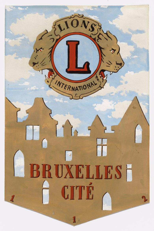 René Magritte (1898-1967), Projet de fanion du Lions Club de Bruxelles-Cité, 1964. 12 x 7⅞  in (30.5 x 20  cm). Estimate £50,000-70,000. Offered in Impressionist and Modern Works on Paper on 28 February 2019 at Christie's in London