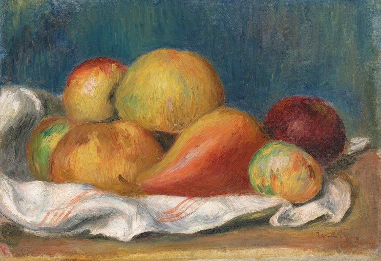 Pierre-Auguste Renoir (1841-1919), Nature morte aux pommes et à poire, circa 1889. 8⅝ x 12¼  in (22 x 31  cm). Sold for £299,250 on 28 February 2019 at Christie's in London