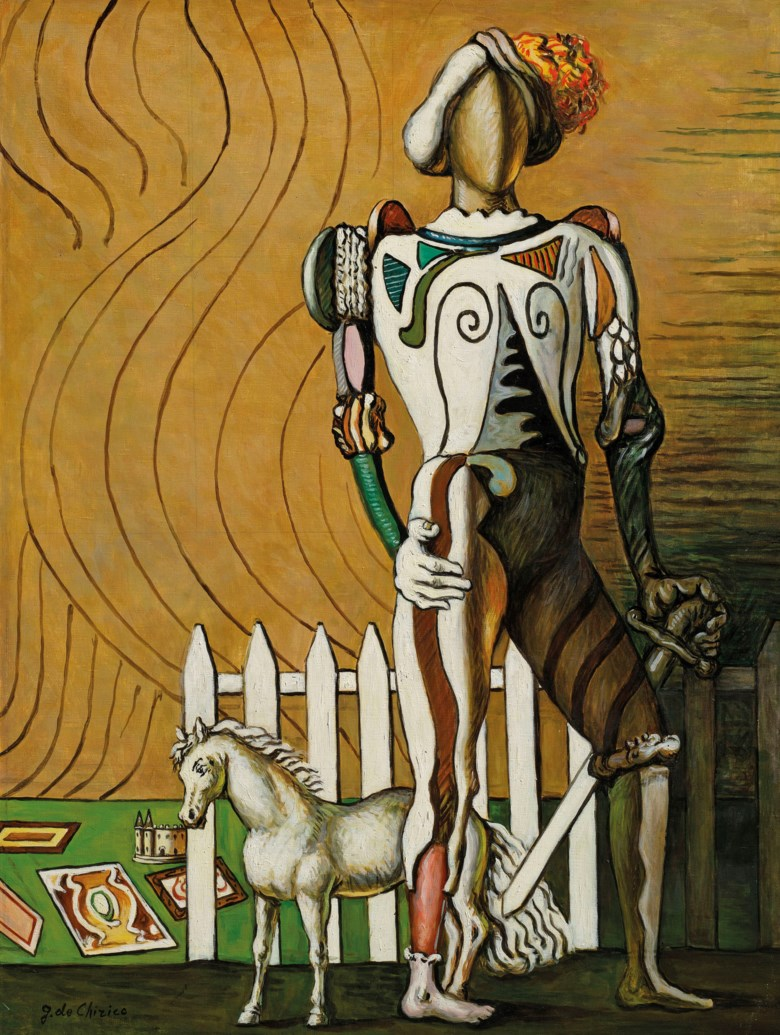 Giorgio de Chirico (1888-1978), Gentiluomo in villeggiatura, 1964. 39½ x 29¾  in (100.2 x 75.5  cm). Estimate £250,000-350,000. Offered in the Impressionist and Modern Art Day Sale on 28 February 2019 at Christie's in London