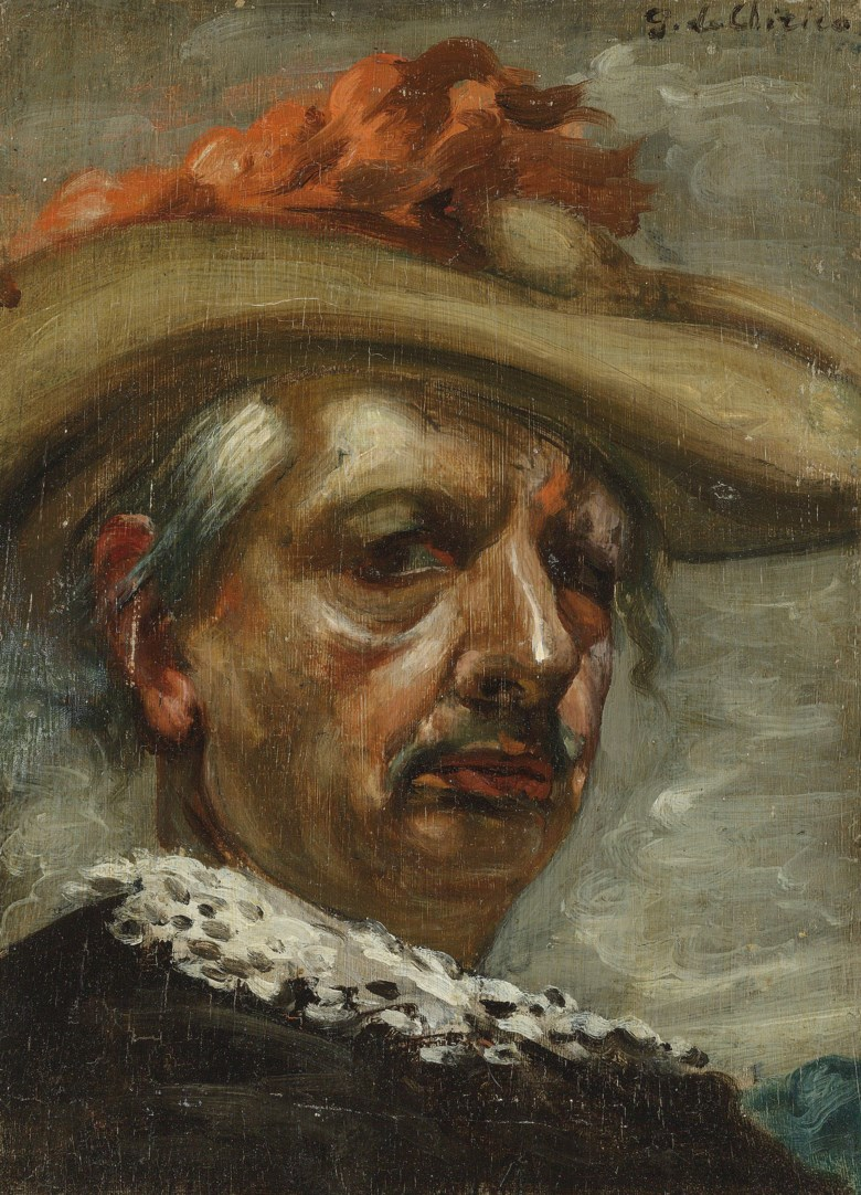 Giorgio de Chirico (1888-1978), Autoritratto in costume, 1951. 14¾ x 10¾  in (37.5 x 27.2  cm). Estimate £25,000-35,000. Offered in the Impressionist and Modern Art Day Sale on 28 February 2019 at Christie's in London