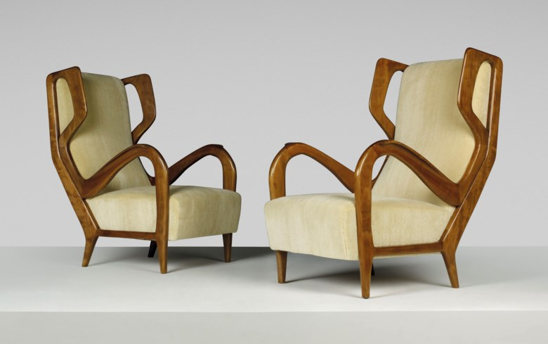 Gio Ponti (1891-1979), A pair of rare wingback armchairs, designed circa 1947. Each 26½ x 34¼ x 39¾  in (67 x 87 x 101  cm). Estimate £100,000-150,000. This lot is offered in Masterpieces of Design and Photography on 6 March 2019 at Christie's in London
