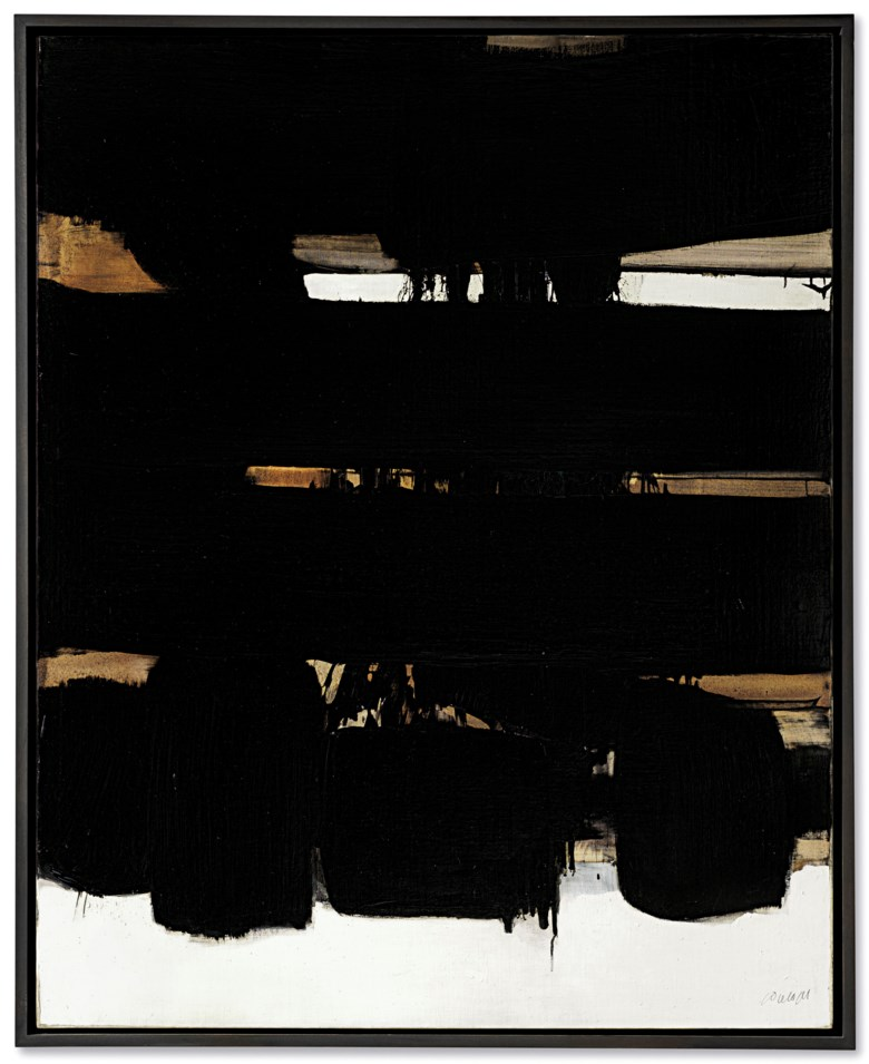 Pierre Soulages (b. 1919), Peinture 162 x 130 cm, 16 octobre 1966, painted in 1966. 63¾ x 51 in(162 x 130 cm). Sold for £1,811,250 on 6 March 2019 at Christie's in London. © Pierre Soulages, DACS 2019