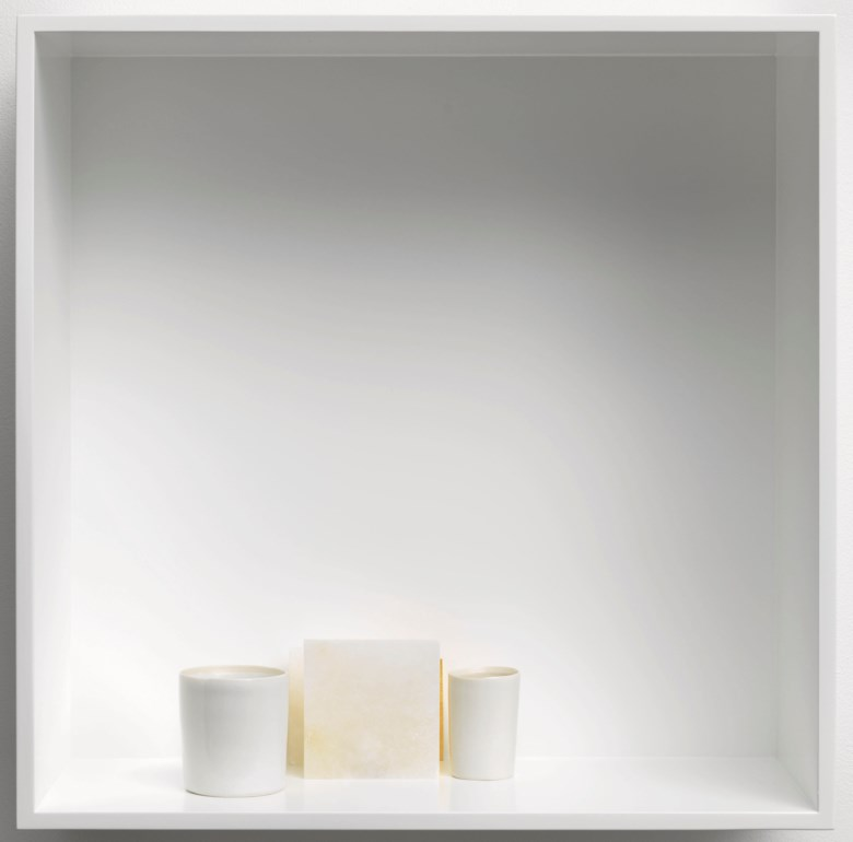 Edmund De Waal, Ryoan-ji (for John Cage), VII, executed in 2017. Three porcelain vessels, two gilded porcelain tiles and two alabaster blocks in an aluminium box. Overall 17¾ x 17¾ x 7⅞ in (45 x 45 x 20 cm). Estimate £30,000-50,000. This lot is offered in Post-War and Contemporary Art Day Auction on 7 March 2019 at Christie's in London