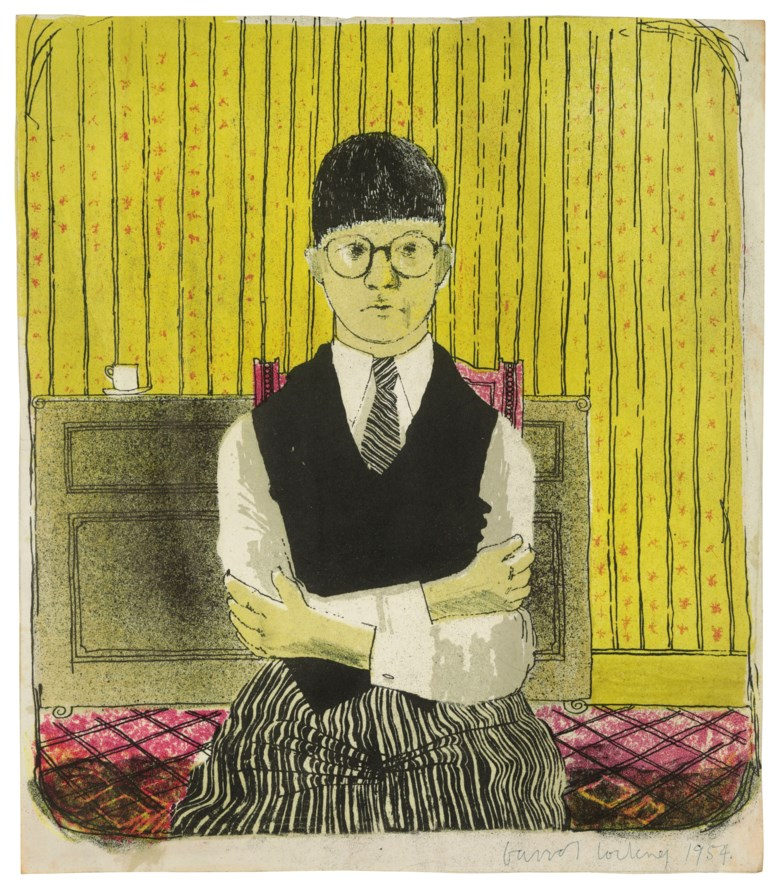 David Hockney (b. 1937), Self-Portrait, 1954. Lithograph in five colours. Edition of five, approximately. 11½ x 10¼ in. Estimate £40,000-60,000. Offered in Prints & Multiples on 21 March 2019 at Christie's in London © David Hockney