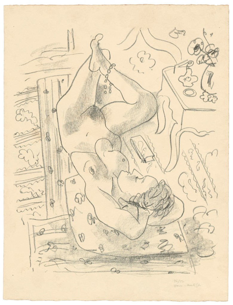 Henri Matisse (1869-1954), Nu renversé près d'une table Louis XV, 1929. Lithograph. Image 560 x 460  mm, sheet 660 x 504  mm. This lot was offered in Prints & Multiples on 21 March 2019 at Christie's in London and sold for £16,250