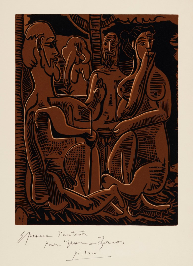 Pablo Picasso (1881-1973), Petit déjeuner sur l'herbe, daprès Manet, 1963. Linocut in two shades of brown and black. Block 348 x 269  mm, sheet 625 x 440  mm. This lot was offered in Prints & Multiples on 21 March 2019 at Christie's in London and sold for £16,250
