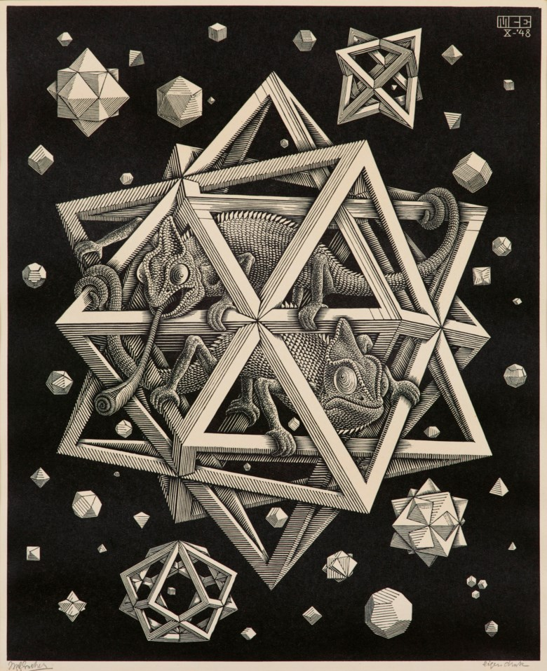 Maurits Cornelis Escher (1898-1972), Stars, 1948. Wood engraving on Japan paper, signed in pencil. Image 320 x 260  mm, sheet 398 x 328  mm. This lot was offered in Prints & Multiples on 21 March 2019 at Christie's in London and sold for £13,750