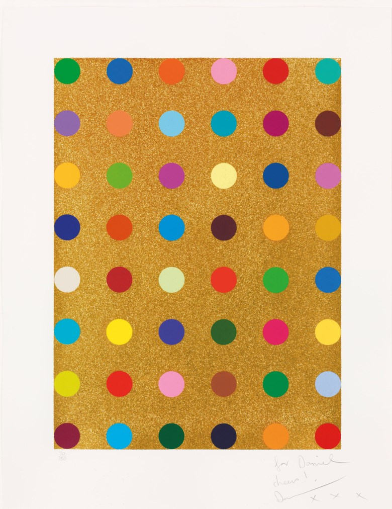 Damien Hirst (b. 1965), Aurous lodide, 2009. Screenprint in colours with gold glitter. Image 760 x 560  mm, sheet 978 x 758  mm. This lot was offered in Prints & Multiples on 21 March 2019 at Christie's in London and sold for £7,250