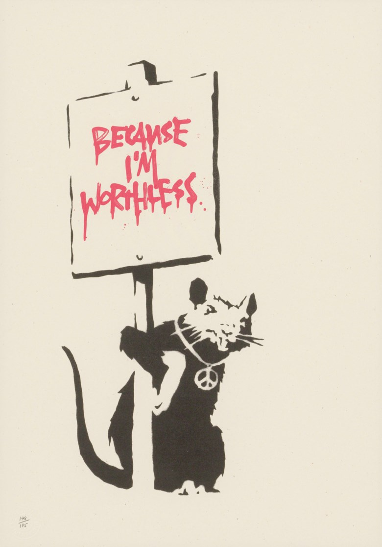 Banksy (b. 1975), Because Im Worthless, 2004. Screenprint in black and red. Image 385 x 180, sheet 500 x 350  mm. This lot was offered in Prints & Multiples on 21 March 2019 at Christie's in London and sold for £17,500