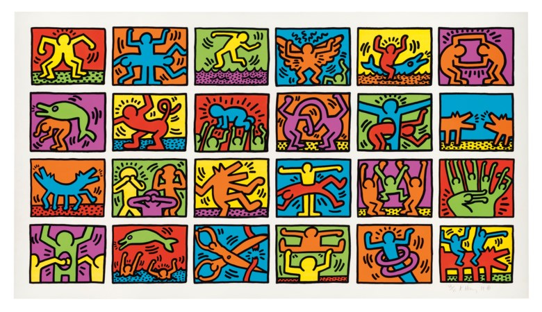Keith Haring (1958-1990), Retrospect, 1989. Screenprint in colours on thick wove paper. Signed and dated in pencil, numbered 3675. Image 1035 x 1950 mm, sheet 1160 x 2080 mm. Estimate £150,000-250,000. Offered in Prints & Multiples on 18 September 2019 at Christie's in London