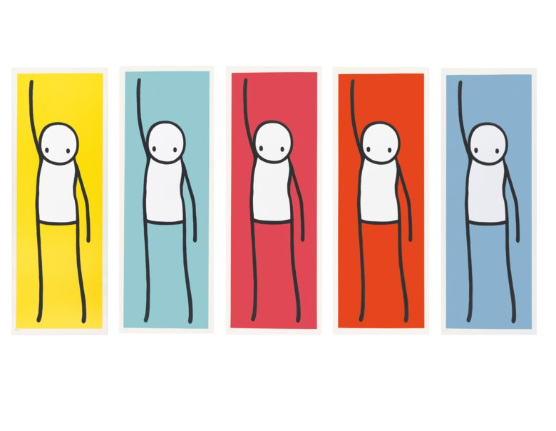 Stik (b. 1979), Liberty, 2013. Deluxe master set of five screenprints in colours on Somerset wove paper. Each signed in pencil, each numbered AP 45 (the standard edition without the yellow variant was issued in an edition of 25). Images 1060 x 360 mm, sheets 1120 x 410 mm. Estimate £80,000-120,000. Offered in Prints & Multiples on 18 September 2019 at Christie's in London
