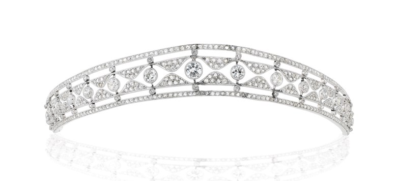 An early-20th-century diamond tiara, old- and rose-cut diamonds, circa 1910. 20.5 cm. Sold for £23,750 on 12 June 2019 at Christie's in London