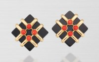 ONYX AND CORAL EARRINGS, ALDO CIPULLO FOR CARTIER