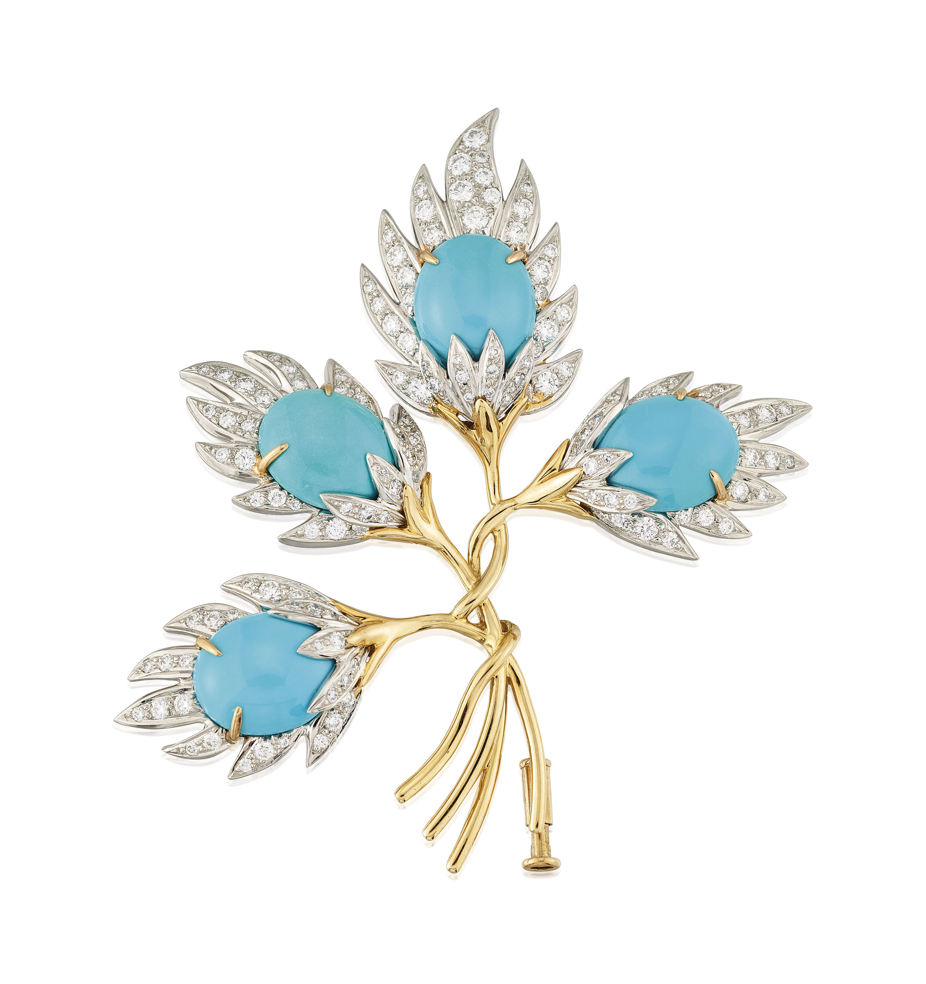 TURQUOISE AND DIAMOND BROOCH,