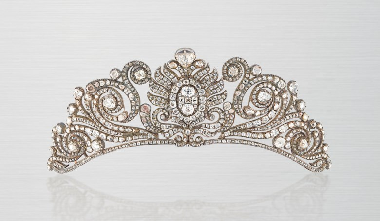A rare late 18th-  early 19th-century diamond tiara. Old and rose-cut diamonds, closed-set in silver and gold, velvet-covered tiara frame. 5.0 cm high. Sold for £162,500 on 12 June 2019 at Christie's in London