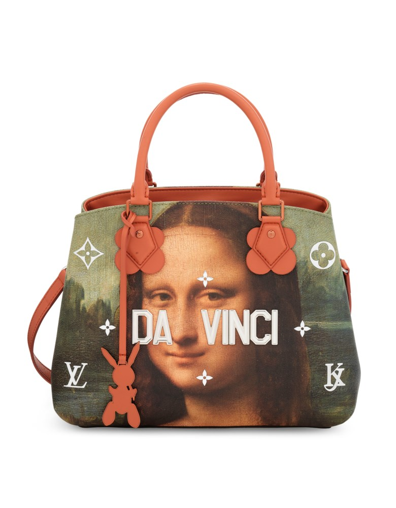 A limited-edition Da Vinci Leather Masters Montaigne with silver & copper hardware by Jeff Koons, Louis Vuitton, 2018. Dimensions 33 w x 23 h x 15 d cm. Sold for £2,500 on 11 June 2019 at Christie's in London
