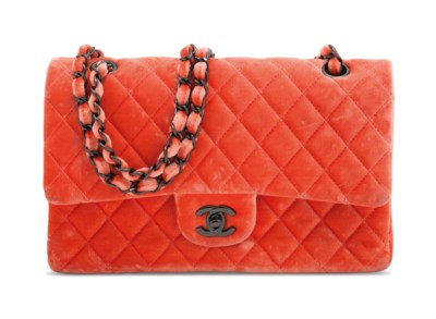 A CORAL VELVET MEDIUM QUILTED