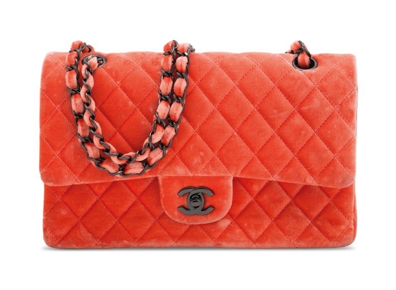 1173646a42bc A coral velvet medium quilted double flap bag with ruthenium hardware,  Chanel, 2015.