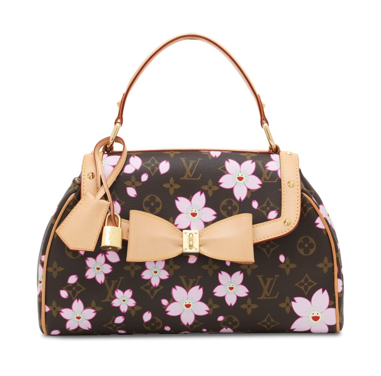 A limited-edition Cherry Blossom Monogram Canvas Sac Retro PM by Takashi Murakami, Louis Vuitton, 2003. Dimensions 30 w x 19 h x 9 d cm. Sold for £2,750 on 11 June 2019 at Christie's in London