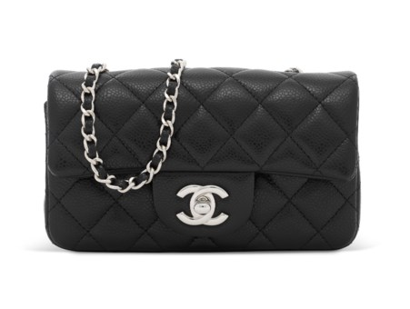 7c3758130d5368 A BLACK CAVIAR LEATHER MINI FLAP WITH SILVER... CHANEL, 2014