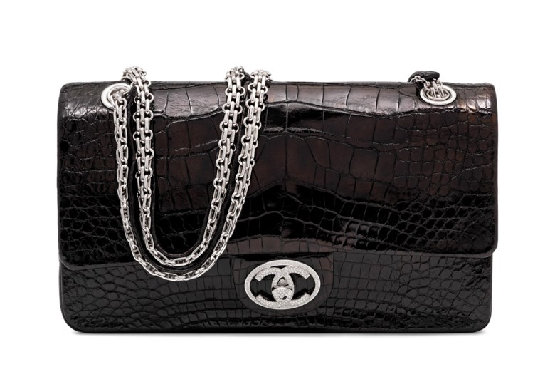 c92fecadab05 A rare and exceptional, shiny black alligator Diamond Forever medium classic  double flap bag with