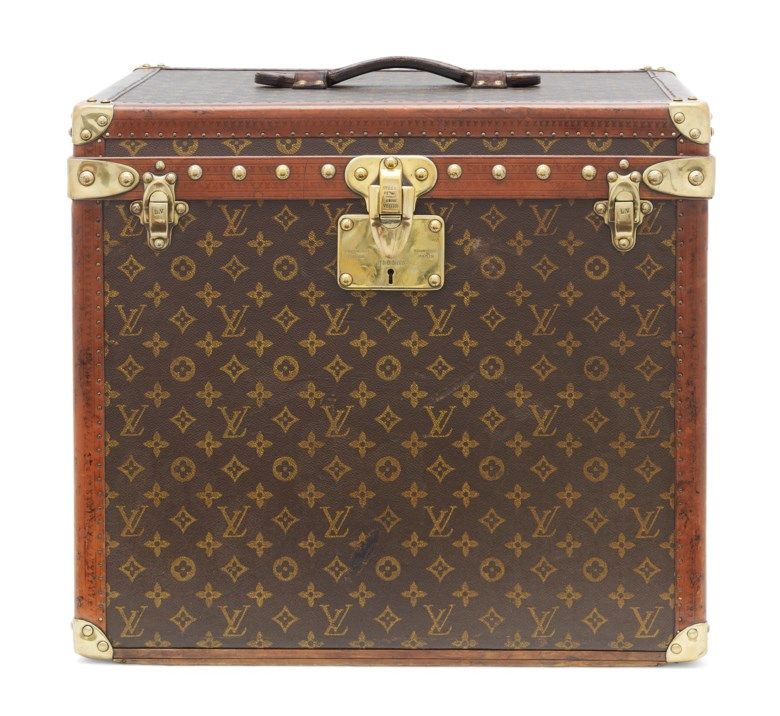 A monogram canvas hat trunk, Louis Vuitton, 1920s. 50 w x 45 h x 43 d cm.