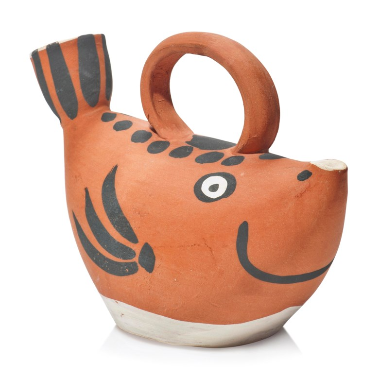 Pablo Picasso (1881-1973), Sujet poisson (A.R. 139), 1952. Terracotta pitcher with black and white engobe. Length 8¾ in (22.3 cm). Estimate £2,000-3,000. Offered in Picasso Ceramics Online, 13-20 June 2019