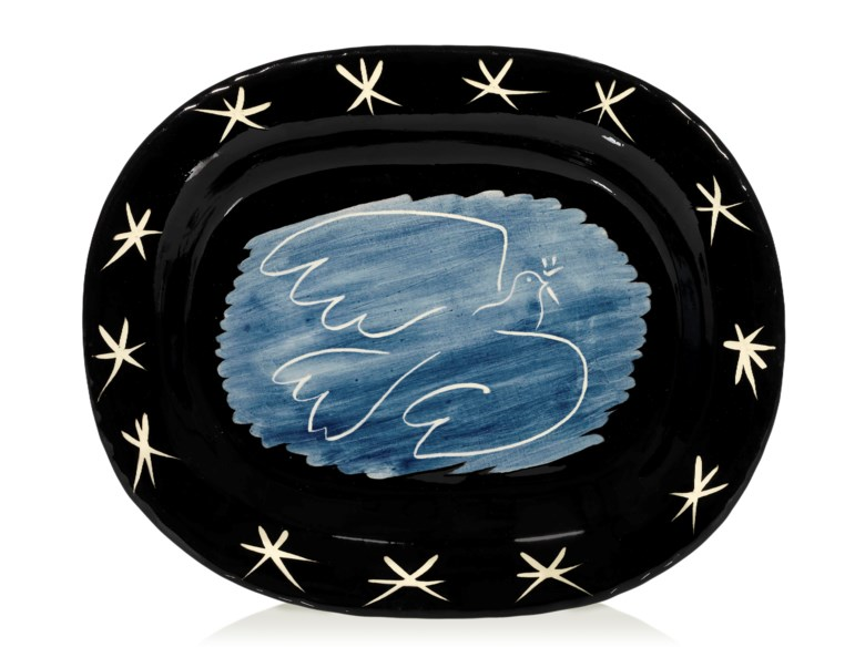 Pablo Picasso (1881-1973), Colombe brillante (A.R. 218), 1953. White earthenware ceramic plate, partially engraved, with coloured engobe and glaze. Length 15¼ in (38.6 cm). Estimate £10,000-15,000. Offered in Picasso Ceramics Online, 13-20 June 2019