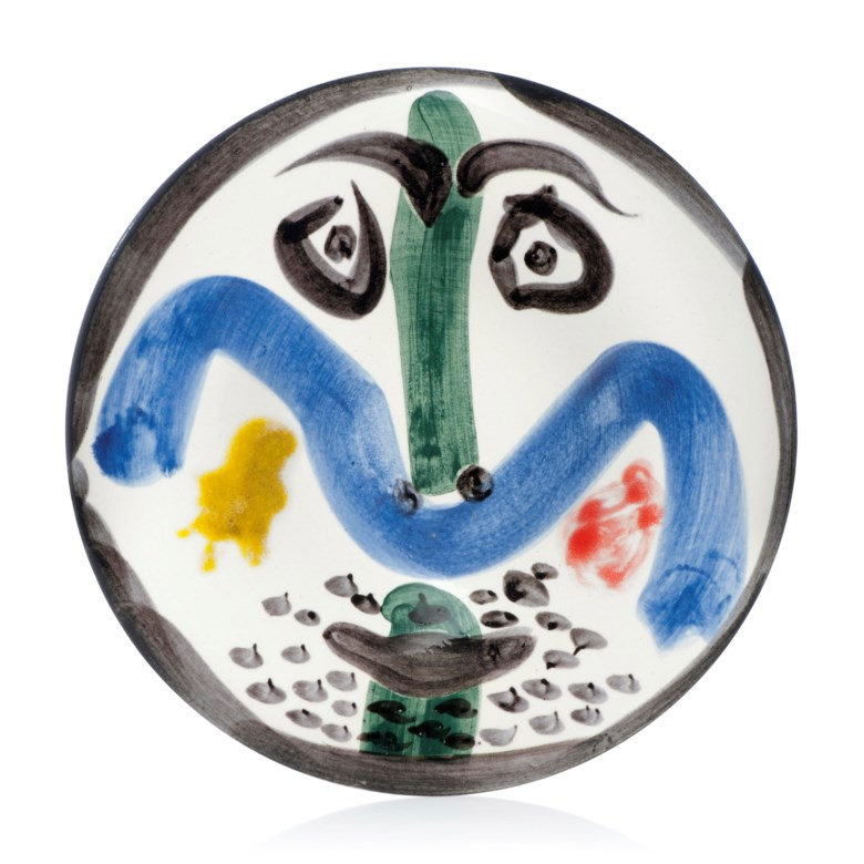 Pablo Picasso (1881-1973), Visage n° 130 (A.R. 479), 1963. Numbered edition of 500. White earthenware ceramic plate with coloured engobe and glaze. Diameter 10 in (25.4 cm). Estimate £5,000-8,000. Offered in Picasso Ceramics Online, 13-20 June 2019