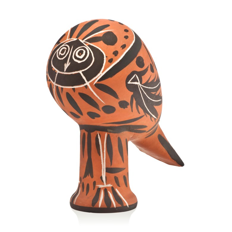 Pablo Picasso (1881-1973), Hibou (A.R. 224), conceived in 1953 and executed in an edition of 25. White earthenware ceramic sculpture, with coloured engobe. Height 12¼ in (31 cm). Estimate £40,000-60,000. Offered in Picasso Ceramics Online, 13-20 June 2019