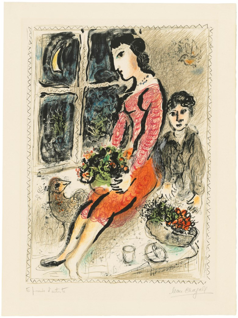 Marc Chagall (1887-1985), Le corsage violet, 1973. Lithograph in colours, on Arches wove paper. Sheet 763 x 568 mm.  Sold for £16,250, 16 May 2019, Online