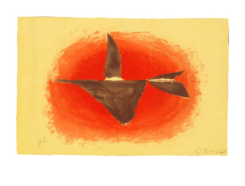 Georges Braque (1882-1963), Au couchant (Oiseau XVI), 1958. Lithograph in colours, on Arches wove paper. Image and sheet 487 x 654 mm. Sold for £5,250, 16 May 2019, Online
