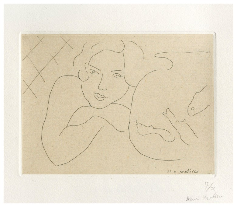Henri Matisse (1869-1954), Jeune fille rêvant près dun bocale de poissons, 1929. Etching, on Chine appliqué to wove paper. Sheet 285 x 380 mm. Sold for £11,875, 16 May 2019, Online
