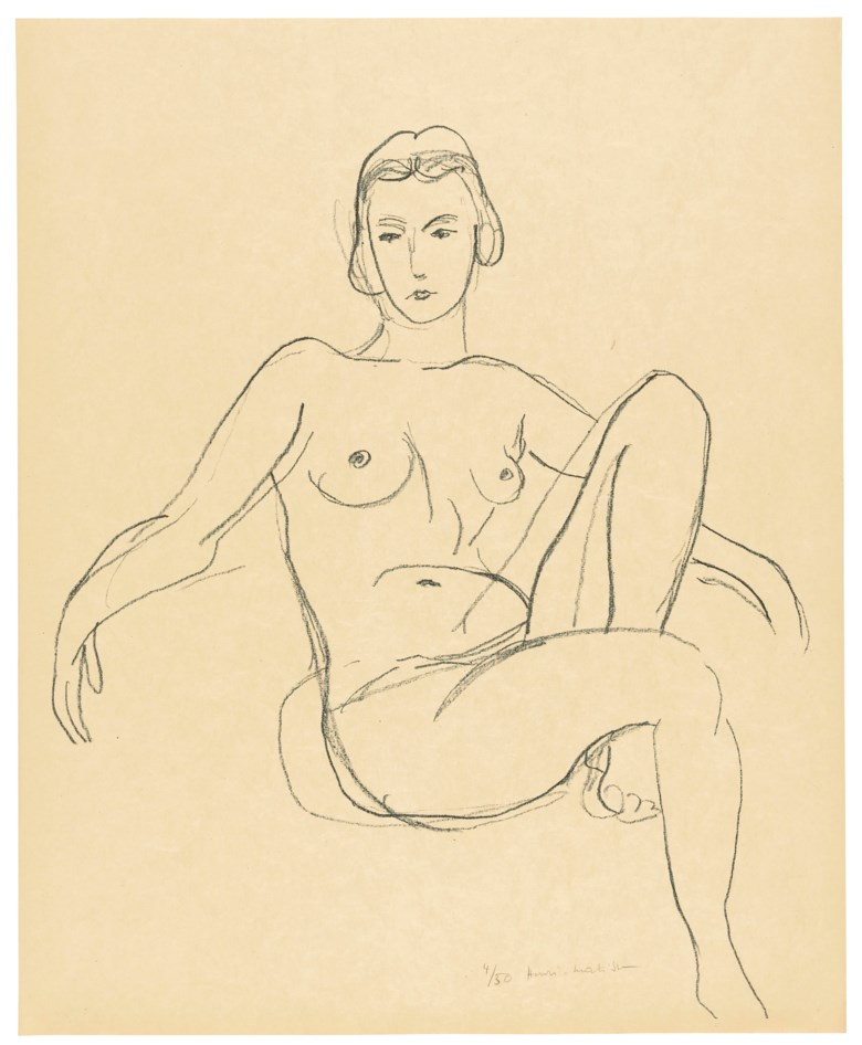 Henri Matisse (1869-1954), Nu assis les bras étendus, 1925. Lithograph. Sheet 560 x 451 mm. Estimate £15,000-20,000. Offered in  Modern Edition, 9-16 May 2019, Online