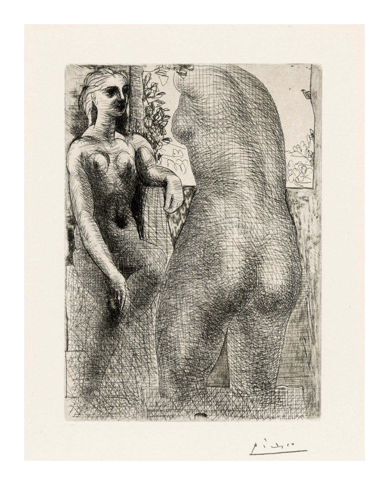 Pablo Picasso (1881-1973), Modèle et grande sculpture de dos, from La Suite Vollard, 1933. Etching, on Montval laid paper. Sheet 446 x 337 mm. Sold for £10,625, 16 May 2019, Online