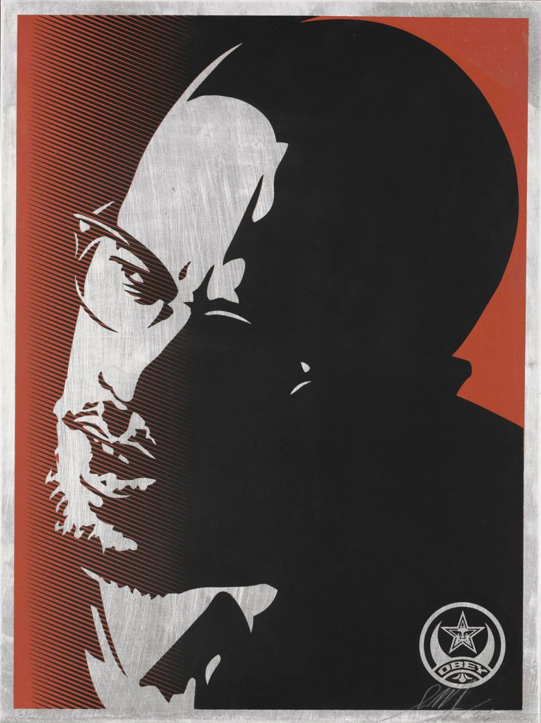 Shepard Fairey (b. 1970), Malcolm X, 2006. Screenprint in colours on an aluminium panel mounted on wood. Image 635 x 480 x 35 mm (overall). Estimate £3,000-5,000. Offered in  Contemporary Edition, 11-25 September 2019, Online