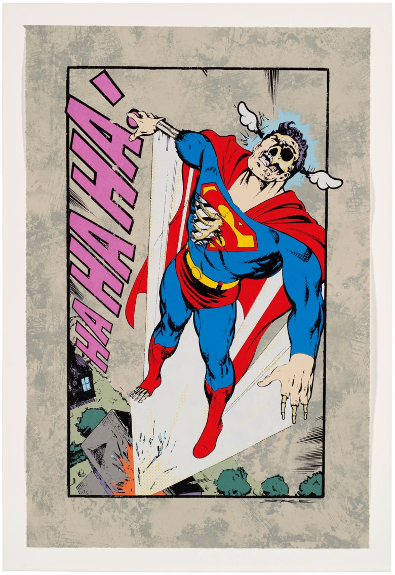 DFace (b. 1978), Ha, Ha, Ha Not So Superman, 2008. Screenprint in colours and etching on wove paper. Signed in felt tip pen, numbered 11, a unique trial proof impression before the edition of 95 (there were also 28 artists proofs), published by Black Rat Press. Image & Sheet 842 x 555 mm. Estimate £800-1,200. Offered in  Contemporary Edition, 11-25 September 2019, Online