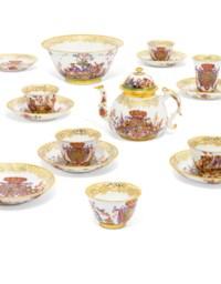 A MEISSEN (AUGUSTUS REX) PORCELAIN ROYAL ARMORIAL PART TEA AND CHOCOLATE-SERVICE