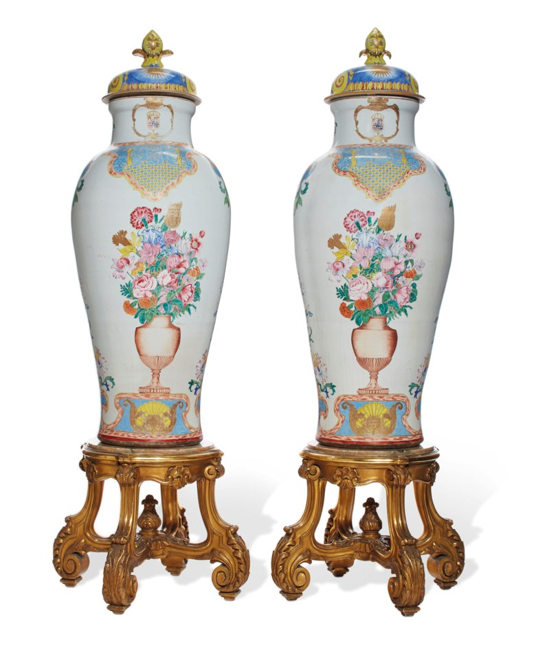 A pair of Chinese export 'soldier' vases and covers with the arms of Philip V of Spain, YongzhengQianlong period, circa 1735-40. Height 51½  in (130.8  cm). Estimate £200,000-300,000. Offered in The Exceptional Sale  on 4 July 2019 at Christie's in London
