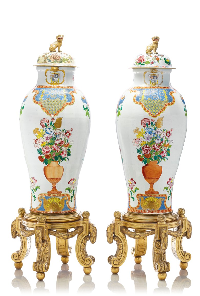A pair of Chinese export armorial 'soldier' vases and two covers, YongzhengQianlong period, circa 1735-40. 51½  in (130.8  cm) high, each. Estimate £100,000-150,000. Offered in The Exceptional Sale  on 4 July 2019 at Christie's in London