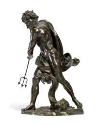 A BRONZE FIGURE OF NEPTUNE