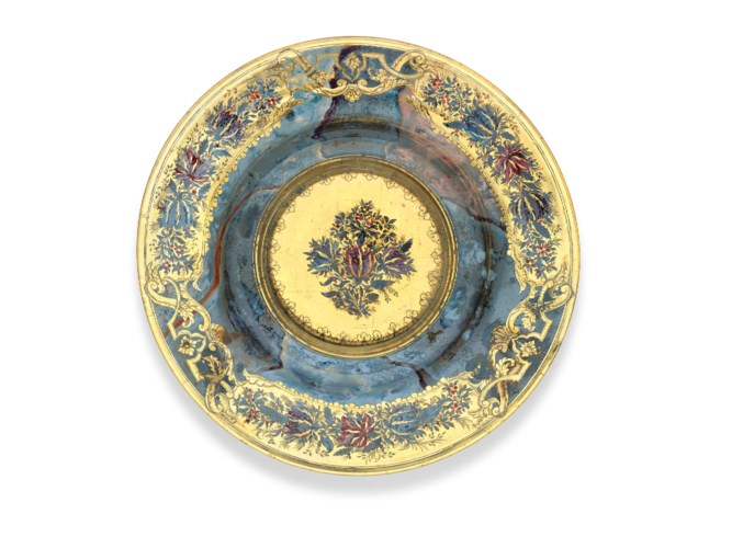A DRESDEN GILDED AND ENAMELLED