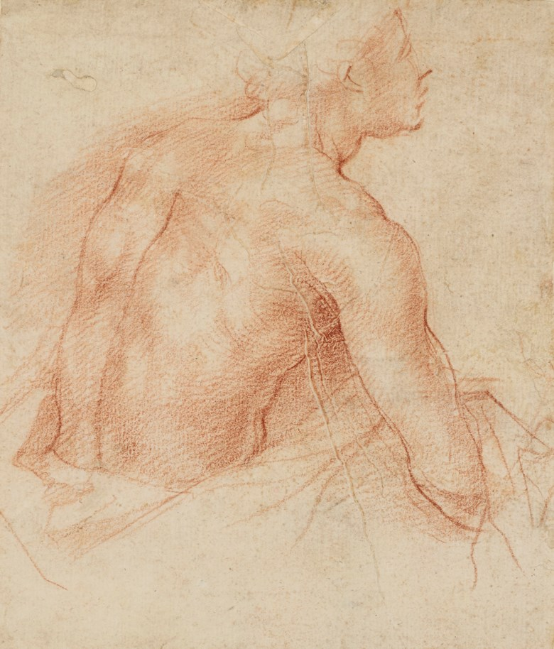 Andrea del Sarto (1486-1531), Study of a semi-nude man seen from the back (recto); Partial study of an infant (verso). Red chalk (recto)black chalk (verso), 6⅜ x 5⅜  in (16.3 x 13.8 cm). Estimate £250,000-350,000. Offered in Old Master and British Drawings and Watercolours Including Works from the Collection of Jean Bonna on 2 July 2019 at Christie's in London